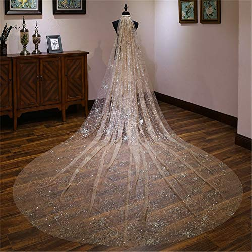 Wedding Veil Bridal Veils Shiny Bronzing Bridal Veil Tulle Romantic Starry Long Tail Luxurious Wedding Veil (Color : Gold, Size : 400cm300cm)