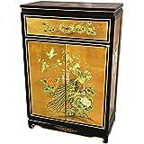 "Oriental Furniture 36"" Gold Leaf Shoe Cabinet - Birds and Flowers"