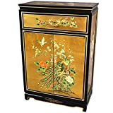 Oriental Furniture 36'' Gold Leaf Shoe Cabinet - Birds and Flowers
