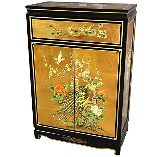 "Oriental Furniture 36"" Gold Leaf Shoe Cabinet - Birds and..."