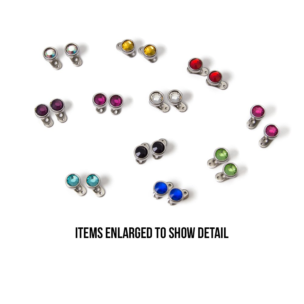 Dermal Anchors Piercing 316L Surgical Steel Multi-Color Gems - 22 Tops and 22 Bottoms - 44 Piece Total