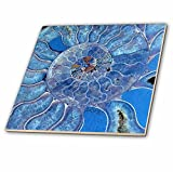 3dRose Uta Naumann Pattern - Blue Seashell-Mother-of-Pearl Closeup - 4 Inch Ceramic Tile (ct_266903_1)