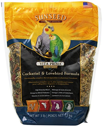 Sunseed 49030 Vita Prima Sunscription Cockatiel And Lovebird Food - High-Variety Formula, 3 LBS