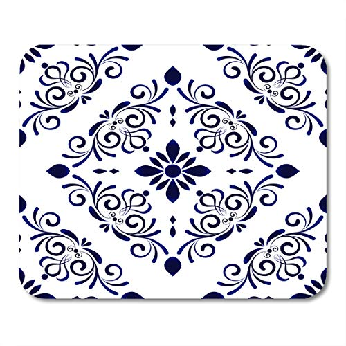 Emvency Mouse Pads Spanish Baroque Style Damask Floral Flower Blue and White Vases Simple Ceramic Pattern Chinese Machine Mouse Pad 9.5