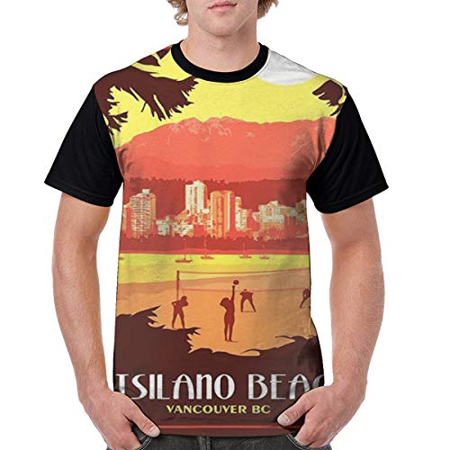 Men's Vancouver BC Vintage Travel Poster Beach Volleyball Match Novelty Casual Tshirt 3D Printed Crewneck Graphic Tees Unisex Black]()