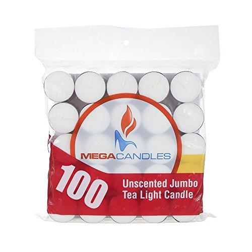 Mega Candles - Unscented Jumbo Large Tea Light Candle - White, Set of (Jumbo Light)