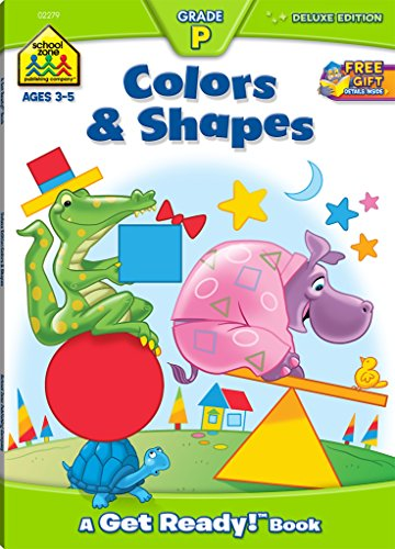 School Zone - Colors and Shapes Deluxe Edition Workbook, Ages 3 to 5, Patterns, Tracing, Object Identification, and More (Get Ready!)