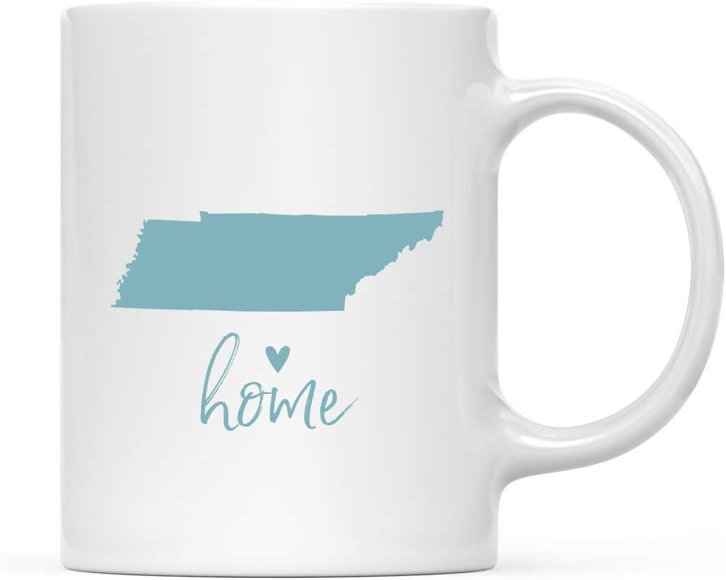 Andaz Press 11oz. US State Coffee Mug Gift, Aqua Home Heart, Tennessee, 1-Pack, Unique Hostess Distance Moving Away Christmas Birthday Gifts for Her