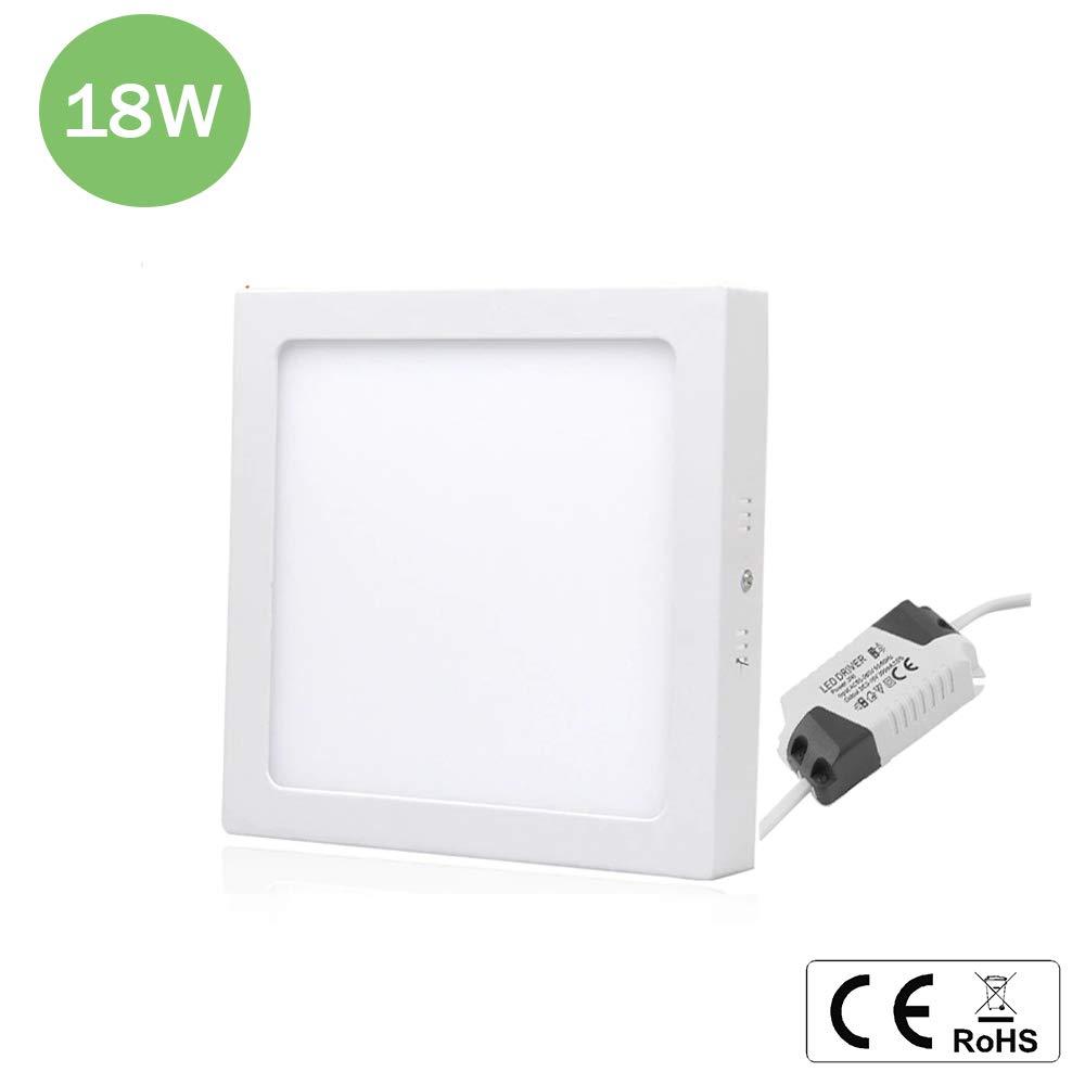 no empotrable Plaf/ón LED de techo cuadrado de 18 W Clase de eficiencia energ/ética A panel LED Momex luz fr/ía
