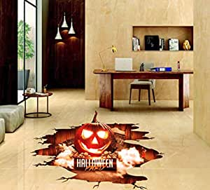 Red flame Halloween party Pumpkin lantern wall stickers decor floor wall decal zy