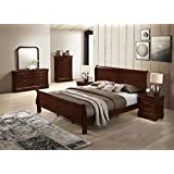 Roundhill Furniture Isola Louis Philippe Style Sleigh Bedroom Set, King Bed, Dresser, Mirror, Night Stand and Chest, Cherry Finish