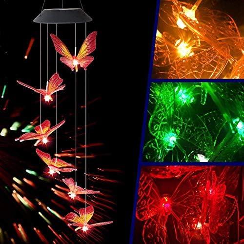 DHTOMC LED-Streifen, Solar-Windspiel mit Schmetterlingsmotiv, wasserdicht, für den Garten, Weihnachten, Urlaub, Dekoration der Solarlampe Xping
