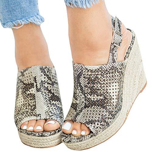 - LAICIGO Women's Peep Toe Ankle Strap Buckle - Summer Espadrille Wedges - Fashion High Platform
