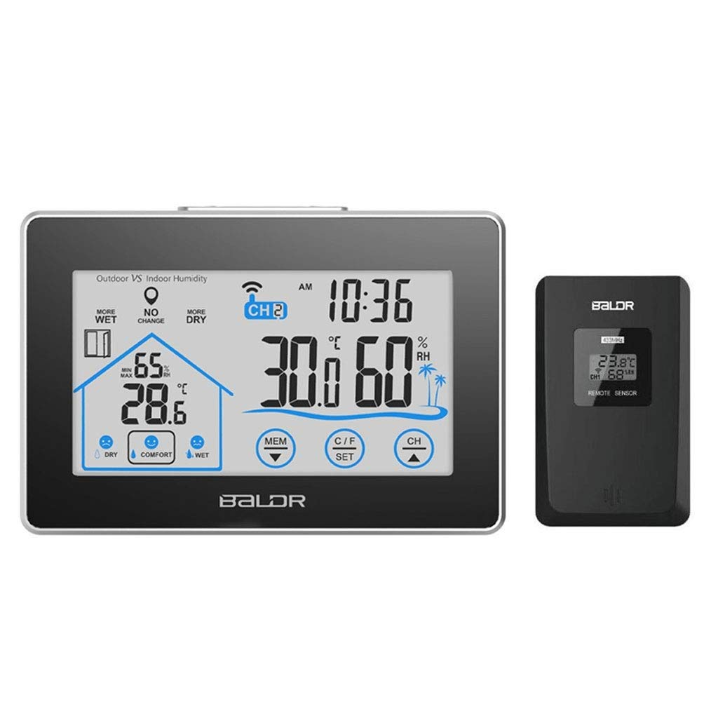RTYUU Wireless Touch Screen Indoor and Outdoor Digital Electronic Thermometer and Hygrometer