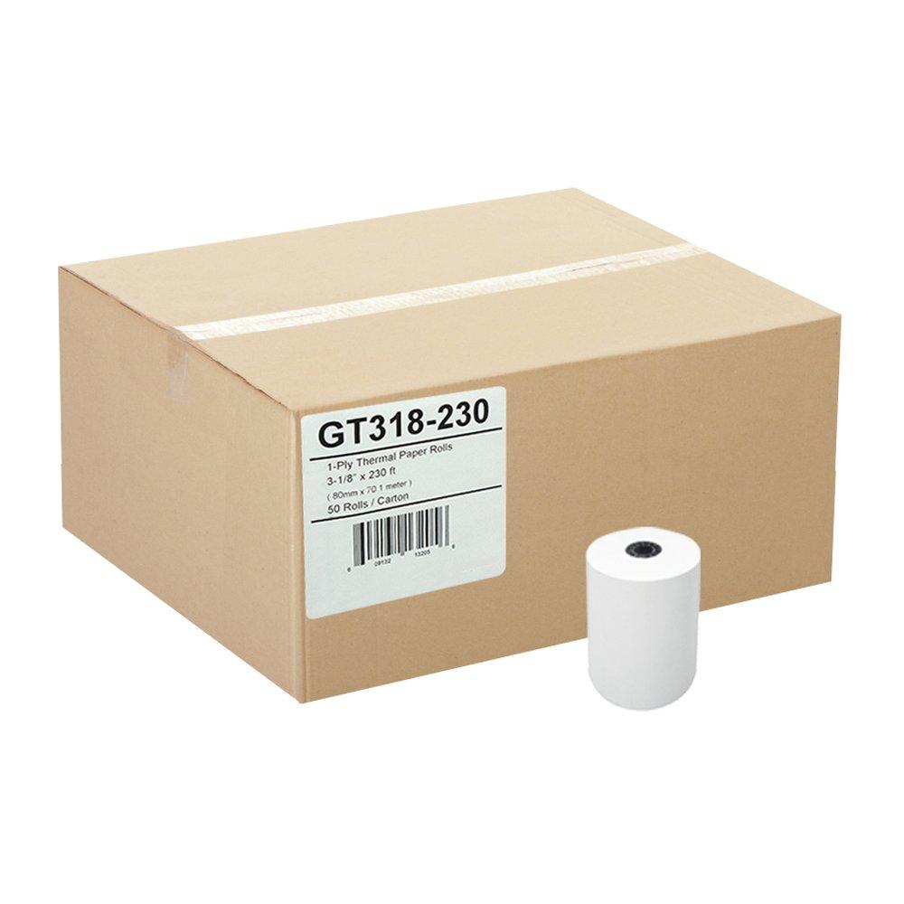 3-1//8 x 230 Thermal Paper Rolls TM-T88 T-20 T-90 Bixolon SRP-350 370 GT318-230 Gorilla Supply 50