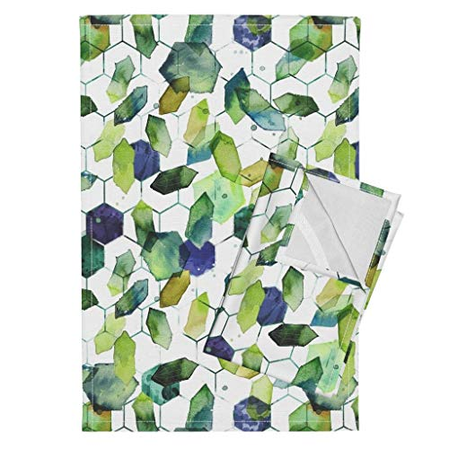 Roostery Watercolor Jade Tea Towels Watercolor Home Decor Jade Jewels Watercolor Geometric Modern Home Decor Abstract Diamonds by Karismithdesigns Set of 2 Linen Cotton Tea Towels