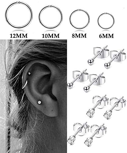 Adramata Stainless Steel Cartilage Earrings for Men Women Ball CZ Stud Helix Conch Piercing Jewelry Set
