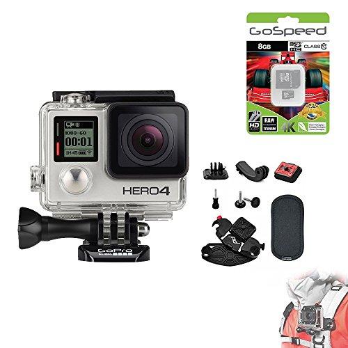 GoPro Hero4 Hero 4 12MP Full HD 4K 30fps 1080p 120fps Built-In Wi-Fi Waterproof Wearable Camera Black Adventure Edition (Capture PRO + 8GB)