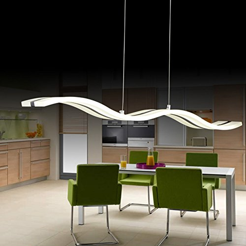 HOUDES Chandelier Acrylic Modern Ceiling Lights Led Pendant Light Hanging lighting Fixtures for Dinning room Living Room Bedroom Led Color = Cool White 6000K Wave Shape 38W