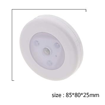 PIR Sensor de movimiento 3LED Luz de noche Lámpara con pilas Gabinete Corredor - Matefielduk - - Amazon.com