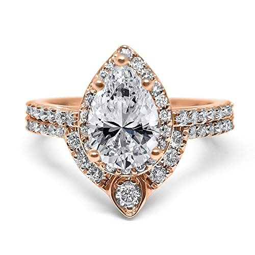 14k Rose Gold Pear shape halo Diamond and Forever ONE moissanite unique wedding set engagement set