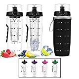 Drinking More Water Bevgo Infuser Water Bottle  Large 32oz - Hydration Timeline Tracker  Detachable Ice Gel Ball With Flip Top Lid - Quit Sugar - Save Money - Multiple Colors with Recipe Gift Included