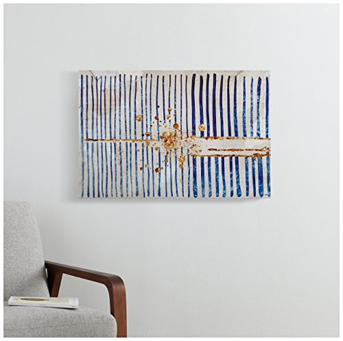 "61aet1ljL0L Blue Stripes and Gold Burst Canvas Print, 36"" x 24"""