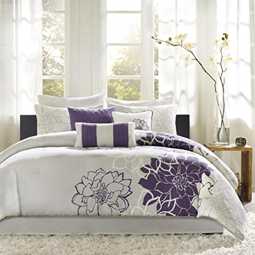 Madison Park Lola Cal King Size Bed Comforter Set Bed In A Bag - Purple, Grey, Floral, Flowers – 7 Pieces Bedding Sets – Cotton Sateen, Cotton Poly Crossweave Bedroom - Bedroom California King Set Contemporary