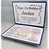 21st BIRTHDAY GIFT - THE DAY YOU WERE BORN - KEEPSAKE by NWM-Gifts