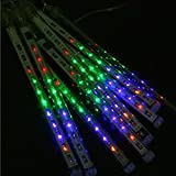 LUXMO LUXURY MOBILE Luxmo 50cm 8 Tube 240 Leds White Color Shower Meteor Rain Light Tube for Wedding Party Christmas Xmas Decoration 10w Lights Waterproof Mixed Color