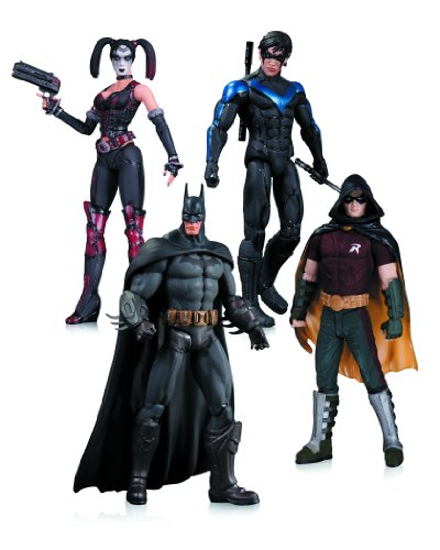 Arkham City: Harley Quinn, Batman, Nightwing, & Robin Action Figure 4-Pack