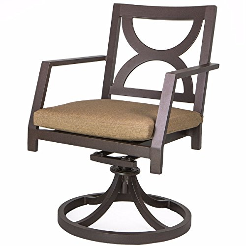 9TRADING Outdoor patio dining chair Swivel Rocker Cast powder coated cushions seat Bronze,Free Tax, Delivered within 10 days For Sale