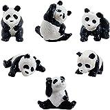 6 Mini Panda Bear Figures - 6 Poses Miniature Figurine Pandas Little Wild Life Safari Toy Animal Cake Toppers Black White Bear
