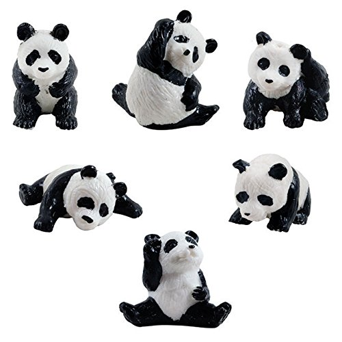 6 Mini Panda Bear Figures - 6 Poses Miniature Figurine Pandas Little Wild Life Safari Toy Animal Cake Toppers Black White Bear