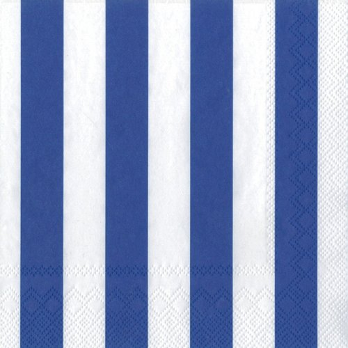 Ideal Home Range 20-Count 3-Ply Paper Cocktail Napkins, Dark Blue Big Stripes