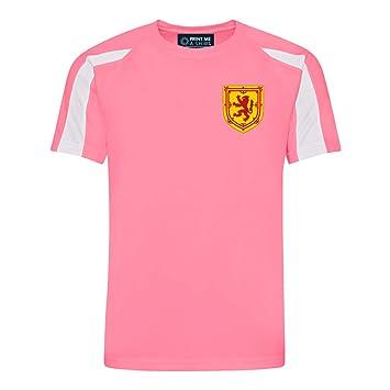 Printmeashirt Personalizable rosa y blanco estilo de Escocia escocés camiseta de fútbol Home Kids Niñas,