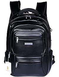 POLO VIDENG Leather Backpack Lightweight Travel Rucksack School Bookbag for 17 Inch Laptop