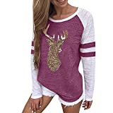Womens Tops Clearance Liraly New Fashion Women Ladies Long Sleeve Splice Blouse Tops Clothes T Shirt(Hot Pink #,US-4 /CN-S)