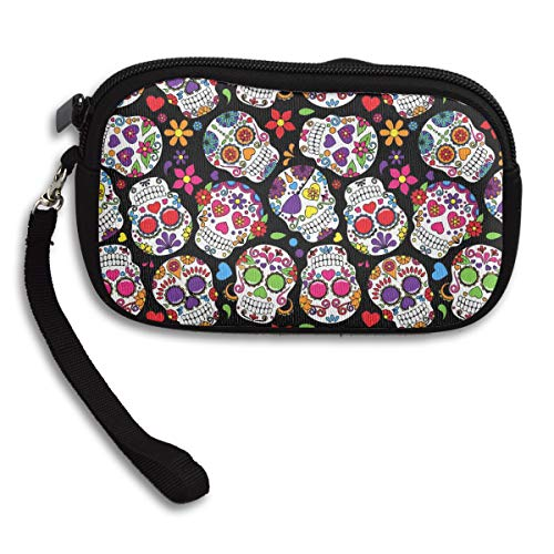 Women's Zipper Cash Coin Purse, Key/Bank Card/Change Strap Clutch, Washable & Durable Polyester Coin Pouch, Make Up Bag, Smartphone Case, Dead Sugar Skull