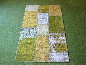 Alfombra en patchwork green 156 90x160 cm hogar for Alfombras comedor amazon