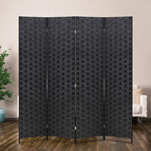 Room Divider Wood Screen 4 Panel Wood Mesh Woven Design Room Screen Divider Folding Portable Partition Screen Screen Wood For Home Office (Wooden Screen Dividers)