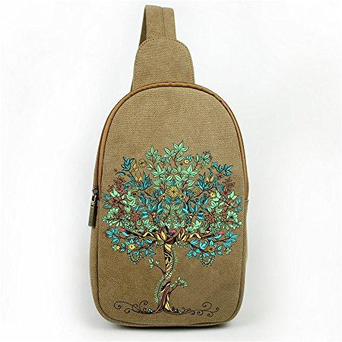 Multiusos Crossbody Mochila Bolsa de hombro Vintage ethinc estilo pecho bolsa de transporte bolsa de escalada marrón flor azul Big Tree