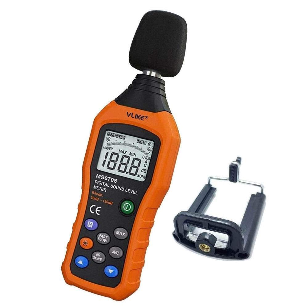 VLIKE LCD Digital Audio Decibel Meter Sound Level Meter Noise Level Meter Sound Monitor dB Meter Noise Measurement Measuring 30 dB to 130 dB MAX Data Hold Function A/C Mode (Batteries Not Include)
