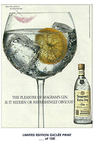 Lost Posters RARE POSTER thick SEAGRAM'S EXTRA DRY gin 2018 REPRINT #'d/100!! (Extra Dry Gin)