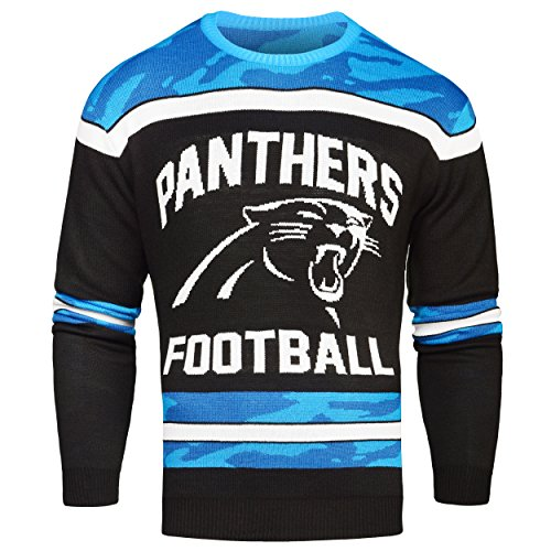 FOCO Carolina Panthers Ugly Glow In The Dark Sweater - Mens Medium by FOCO