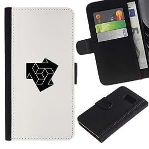 Paccase / Billetera de Cuero Caso del tirón Titular de la tarjeta Carcasa Funda para - cube combine logo - Samsung Galaxy S6 SM-G920
