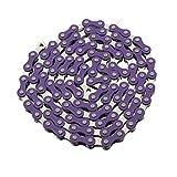 FENIX YBN S410 Bicycle Chain (1-Speed, 1/2 x 1/8-Inch, 112L) Two Tone, (Purple/Chrome)