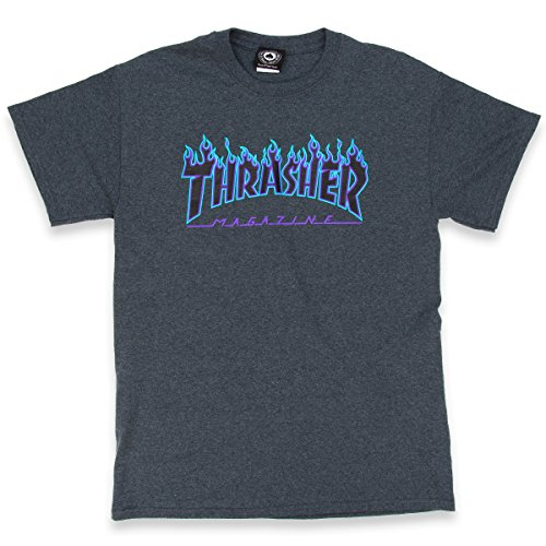 Thrasher Flame Logo T-Shirt - Dark Heather - MD by Thrasher (Image #2)