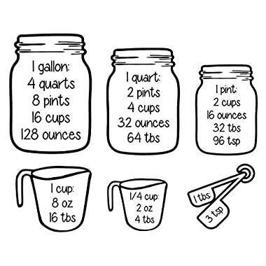 Measuring Cups Conversion Baking Vinyl Wall Art Decal Sticker