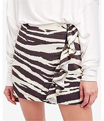 Free People Womens Animal Print Cascade Ruffle Mini Skirt